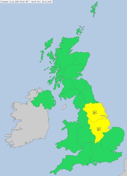 Ostrzeżenia meteorologiczne dla Wielkiej Brytanii na piątek (meteoalarm.eu)