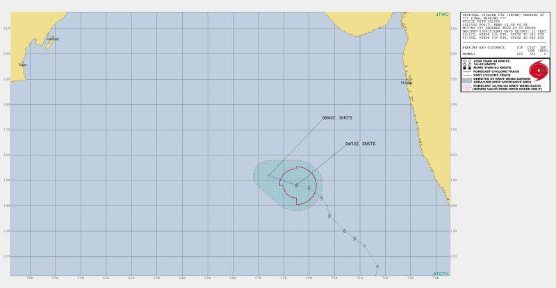 """Prognozowana trasa przejścia cyklonu """"Siedem"""" (Joint Typhoon Warning Center)"""