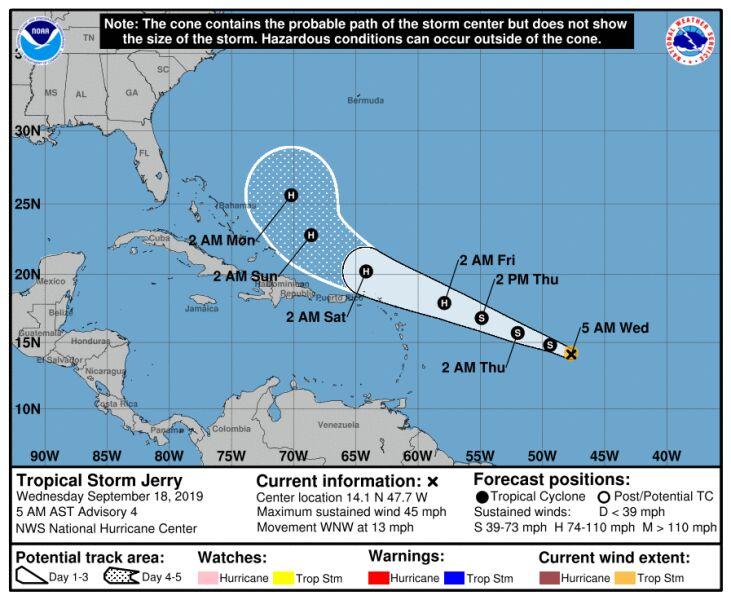 Prognozowana trasa przejścia burzy tropikalnej Jerry (NHC)