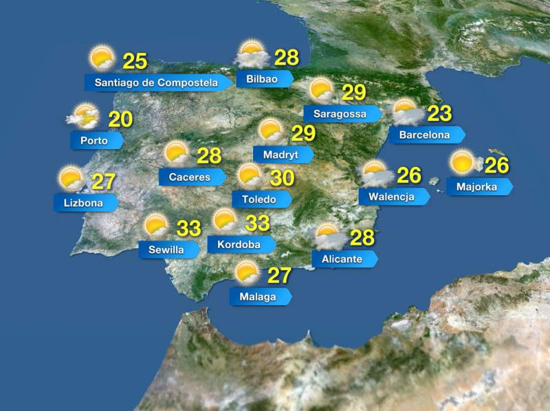 Temperatura w Hiszpanii w piątek