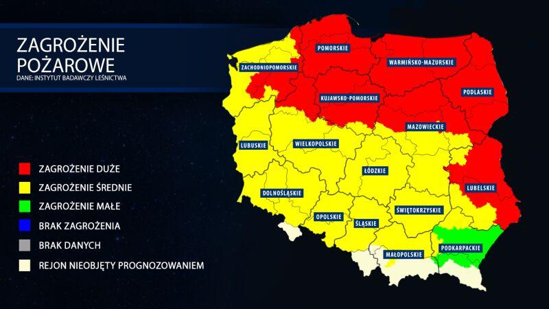 Zagrożenie pożarowe w lasach, stan na 24 kwietnia (dane: Instytut Badawczy Leśnictwa)