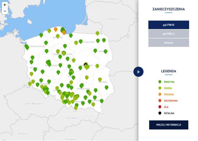 Jakość powietrza w Polsce o godz. 13.50 (TVN Meteo za GIOŚ)
