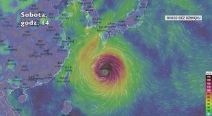 Prognozowane porywy wiatru w tajfunie Haishen